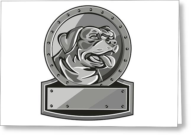 Rottweiler Guard Dog Shield Metallic Circle Retro Greeting Card