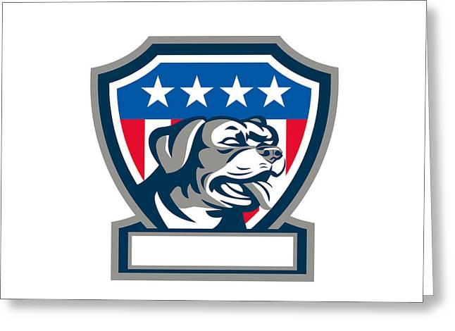 Rottweiler Guard Dog Usa Flag Crest Retro Greeting Card