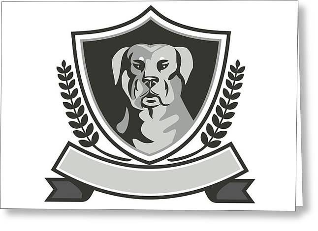 Rottweiler Head Laurel Leaves Crest Black And White Greeting Card
