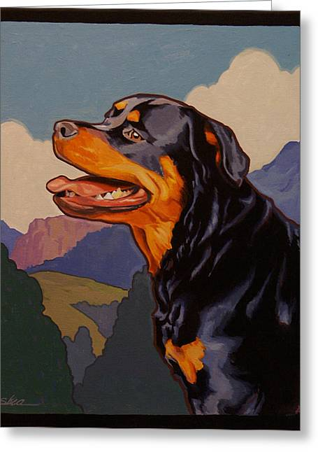 Guard Dog Greeting Cards - Rottweiler in Rottweil Greeting Card by Shawn Shea
