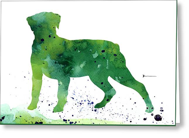 Rottweiler Silhouette Abstract Poster Greeting Card