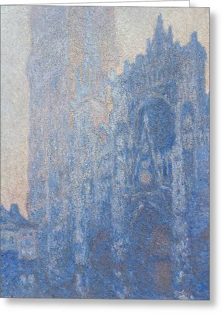Rouen Cathedral Facade And Tour D Albane Morning Effect Greeting Card