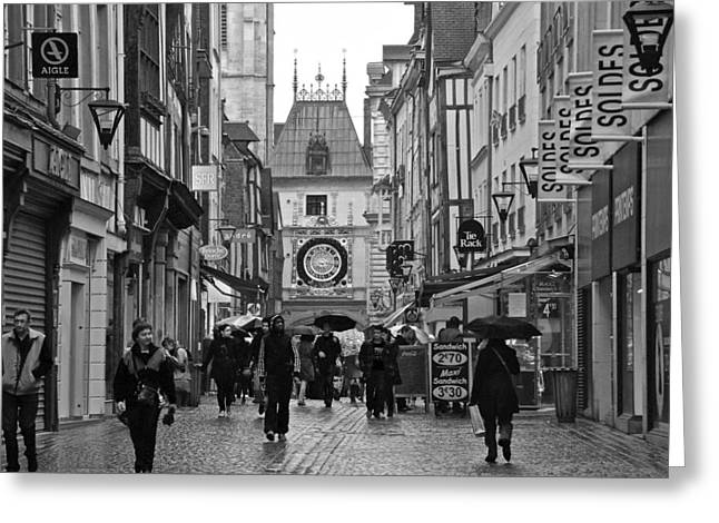 Rouen Street Greeting Card by Eric Tressler