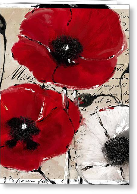 Rouge II Poppies Greeting Card by Mindy Sommers