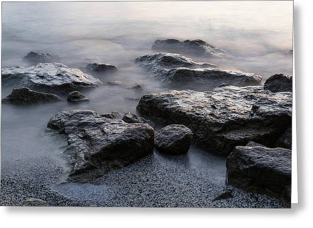 Rough And Soft - Smoky Waves And Rocks On The Beach  Greeting Card by Georgia Mizuleva