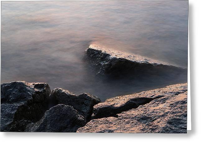 Rough And Soft - Sunlit Rocks On The Beach At Sunrise Greeting Card by Georgia Mizuleva