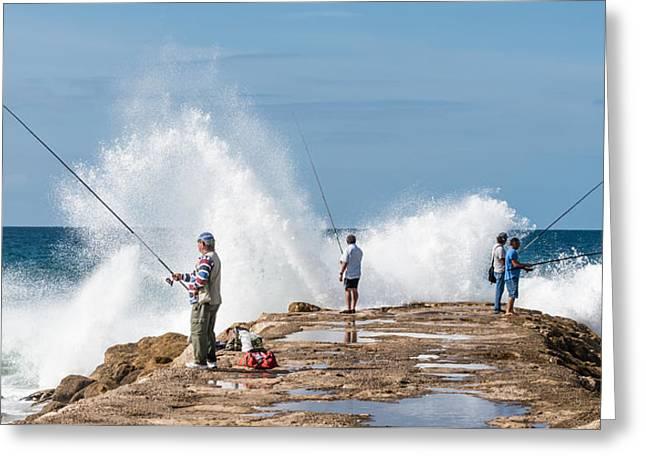 Rough Sea Fishing Greeting Card