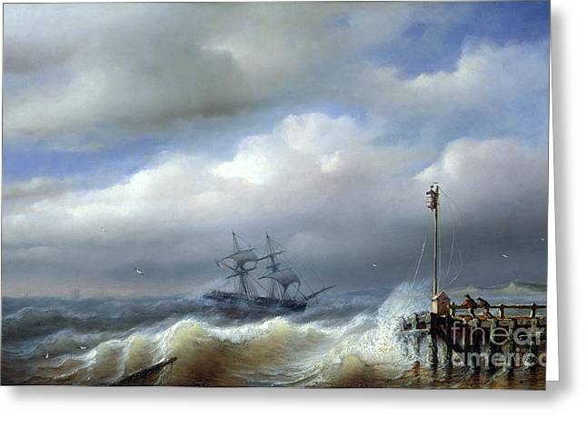 Rough Paintings Greeting Cards - Rough Sea in Stormy Weather Greeting Card by Paul Jean Clays