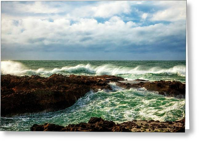 Rough Seas Greeting Card by Andrew Soundarajan