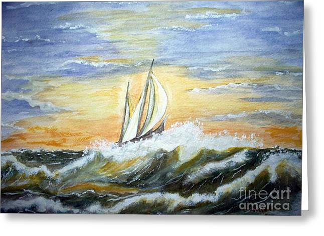 Rough Seas Greeting Card by Carol Grimes
