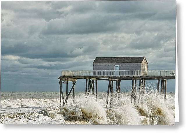 Rough Surf At The Fishing Pier Greeting Card