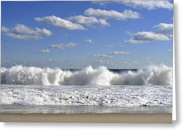 Throw Down Greeting Cards - Rough Surf Jersey Shore  Greeting Card by Terry DeLuco