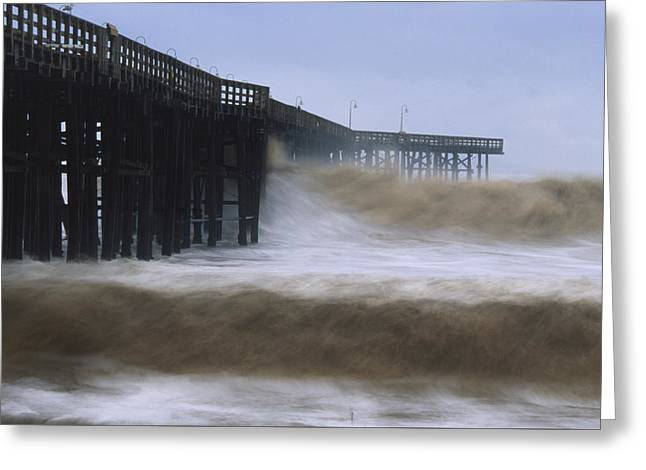 Rough Surf - Ventura Pier Greeting Card by Soli Deo Gloria Wilderness And Wildlife Photography