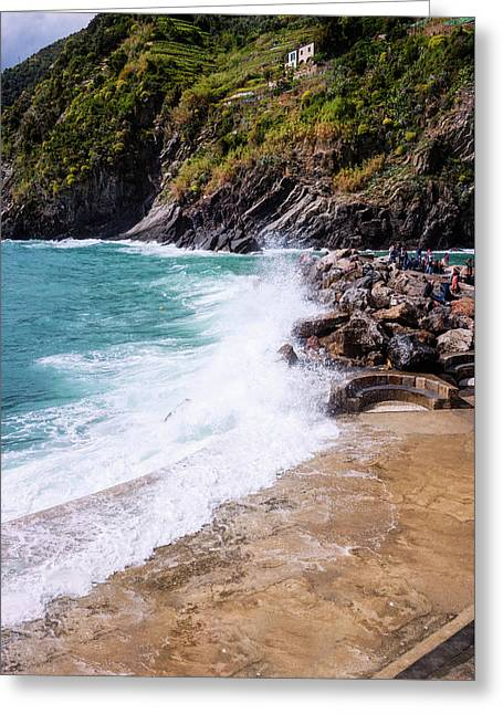 Rough Water In Vernazza Cinque Terre Italy Greeting Card by Joan Carroll