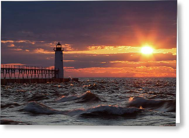 Greeting Card featuring the photograph Rough Water Sunset by Fran Riley