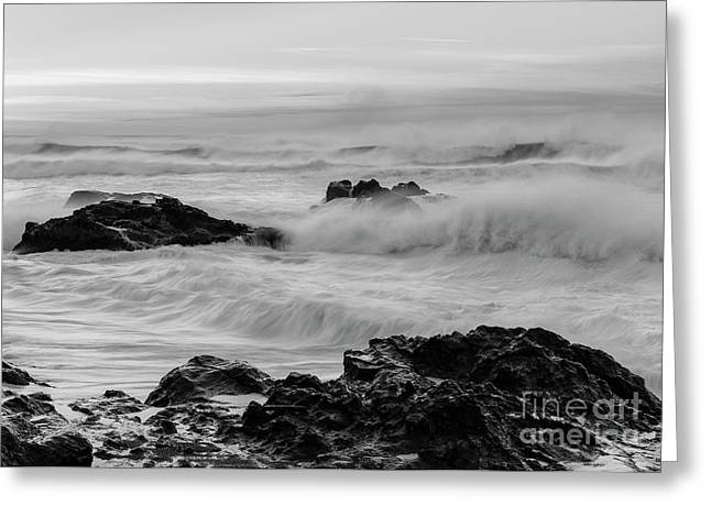 Rough Waves In Black And White Greeting Card