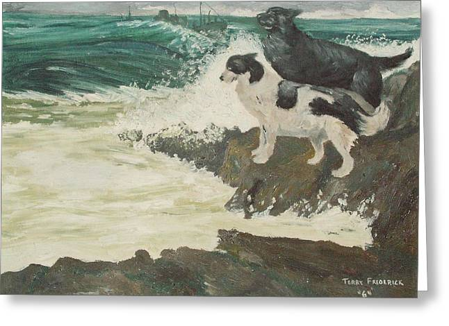 Greeting Card featuring the painting Roughsea by Terry Frederick