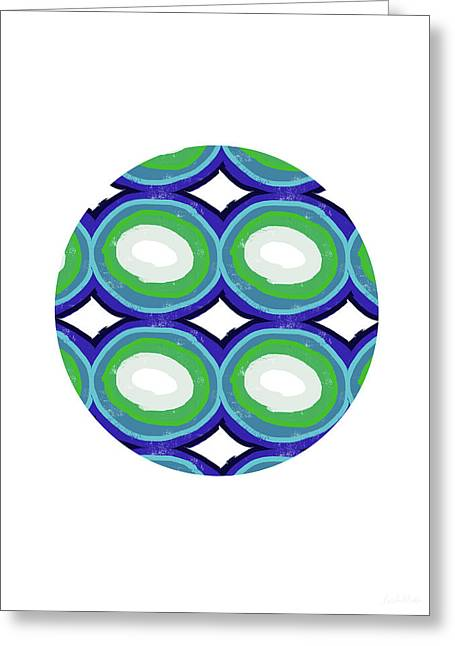 Round And Round Ball- Art By Linda Woods Greeting Card