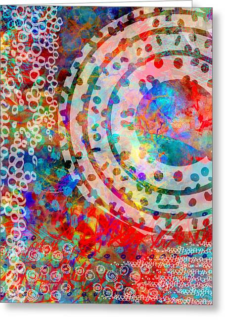 Round And Round Greeting Card by Moon Stumpp