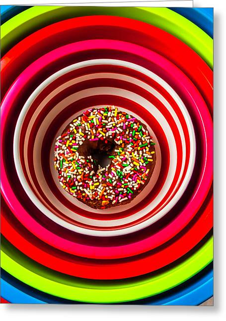 Round Bowl With Donut Greeting Card