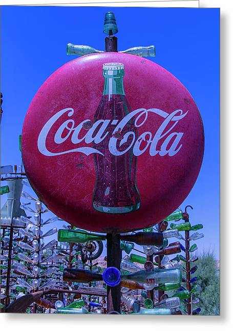 Round Coca Cola Sign Greeting Card by Garry Gay