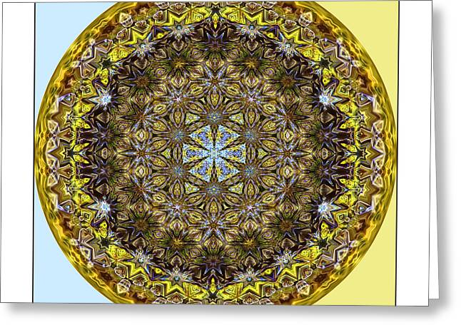 Round Geometric Design Greeting Card by Susan Leggett