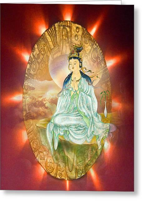 Round Halo Kuan Yin Greeting Card by Lanjee Chee