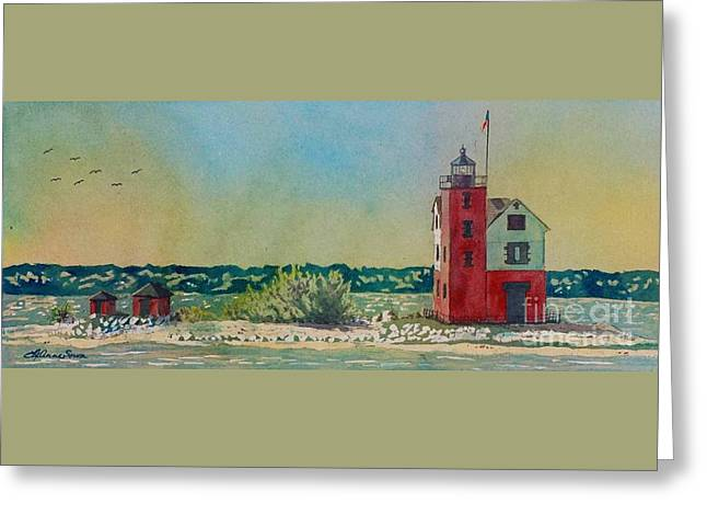 Greeting Card featuring the painting Round Island Lighthouse by LeAnne Sowa