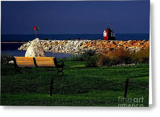 Round Island Lighthouse Mackinac Island Michigan Greeting Card