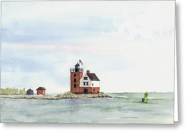 Round Island Lighthouse Greeting Card by Susan Mahoney