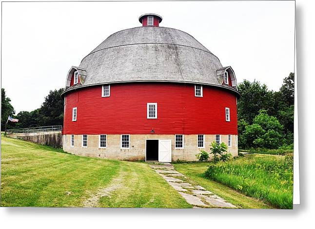 Round Red Barn Greeting Card by Daniel Ness