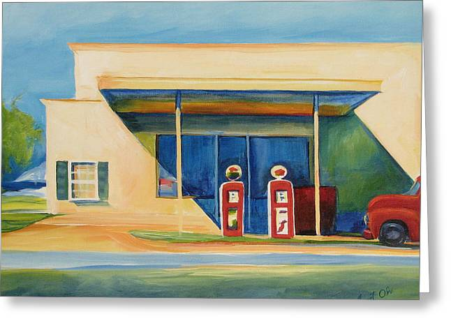 Round Rock Gas Station Greeting Card by Janet Oh