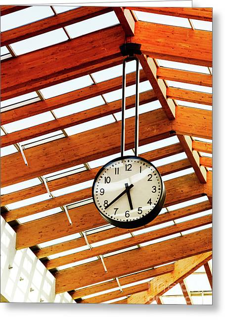Round-the-clock On Weight And Wooden Ceiling Texture Greeting Card by Nataliya Pylayeva