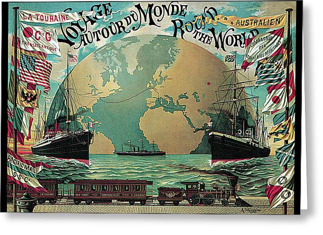Round The World Voyage Greeting Card by A Schindeler