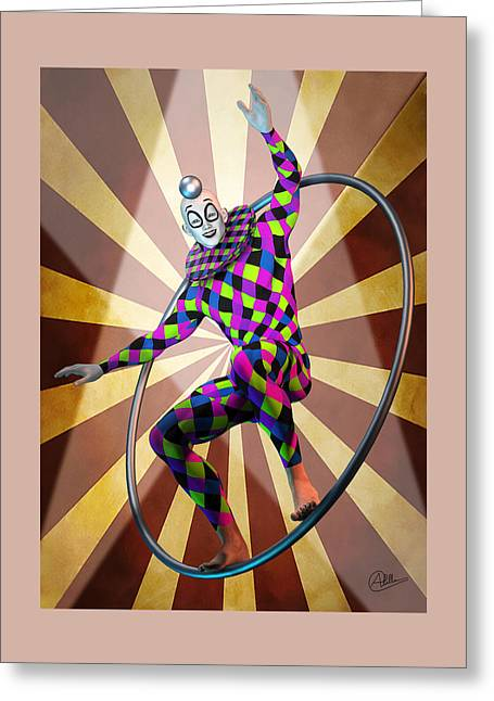 Round Trapeze Greeting Card by Quim Abella