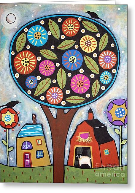 Tree Prints Greeting Cards - Round Tree Greeting Card by Karla Gerard