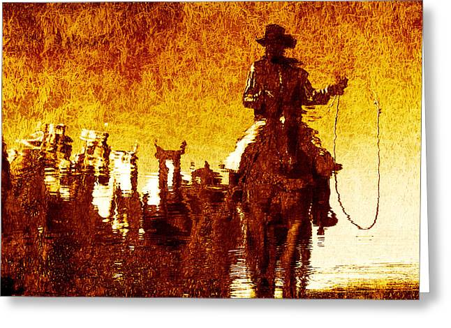 Round Up Reflection Greeting Card by Nick Sokoloff