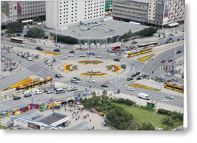 Roundabout In Warsaw Greeting Card by Chevy Fleet