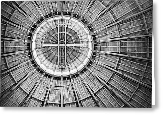 Roundhouse Architecture - Black And White Greeting Card by Joseph Skompski