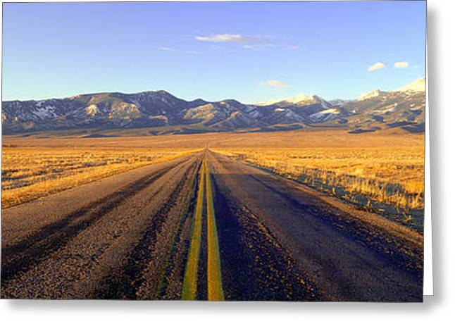 Route 50, Road To Great Basin National Greeting Card by Panoramic Images