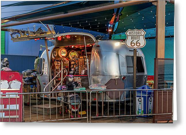 Route 66 And Airstream On Tha Pier Greeting Card