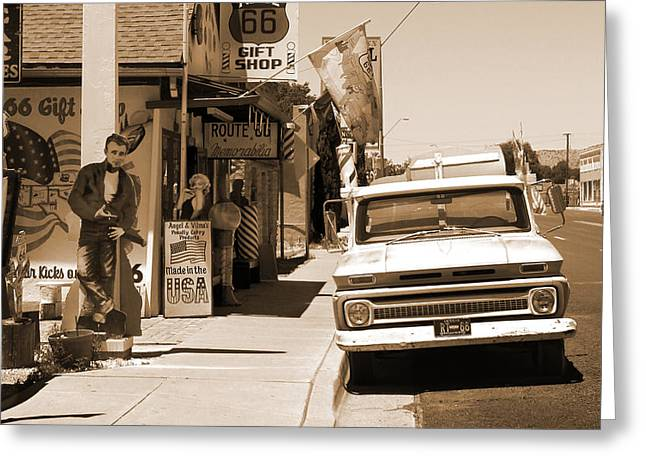 Route 66 - Angel And Vilma's Greeting Card by Mike McGlothlen