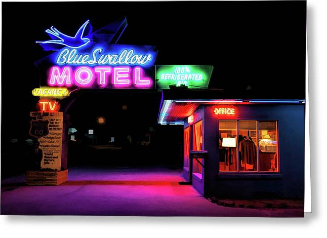 Route 66 Blue Swallow Motel Greeting Card