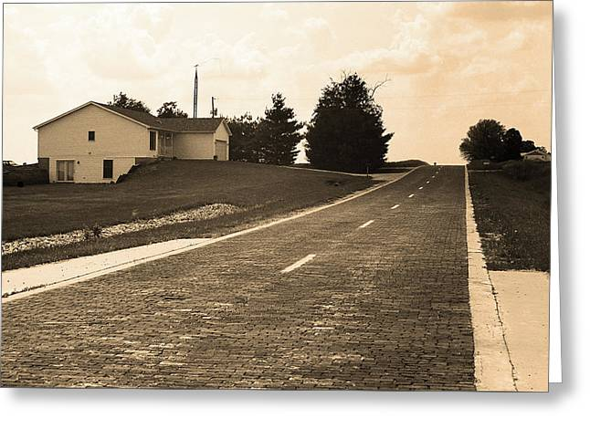 Greeting Card featuring the photograph Route 66 - Brick Highway Sepia by Frank Romeo