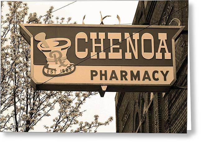 Route 66 - Chenoa Pharmacy Sepia Greeting Card