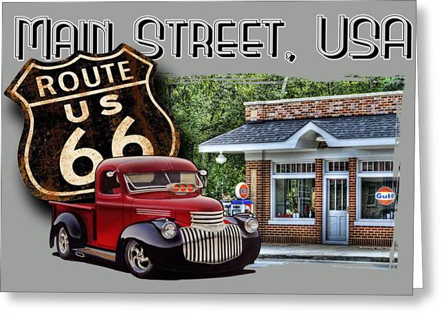 Route 66 Chevy At The Station Greeting Card