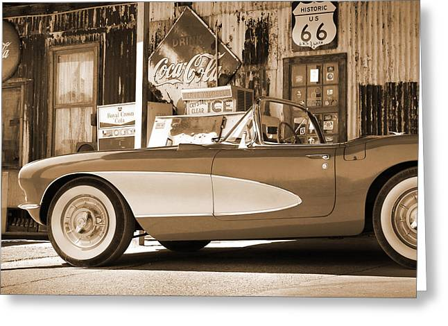 Route 66 - Classic Vette Greeting Card by Mike McGlothlen