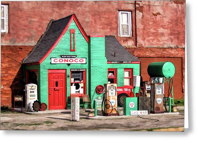 Route 66 Conoco Station Oklahoma Greeting Card