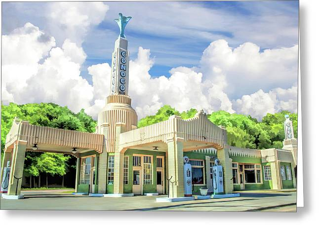 Route 66 Conoco Tower Station Greeting Card