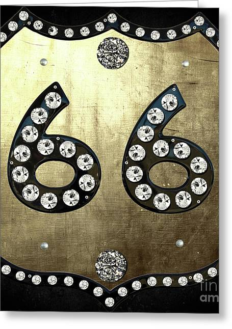 Route 66 Diamonds Sign Greeting Card by Mindy Sommers